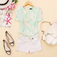 - j962 2014 spring women's o-neck lace print short-sleeve chiffon shirt c-27
