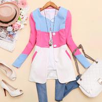 - j066 2014 spring women's o-neck color block decoration slim medium-long long-sleeve outerwear b-27