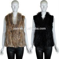 YR-589 Animal Fur Vest With Rabbit Fur and Raccoon Fur Collar 2014 New Design Hot Sale