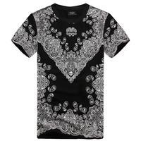 HIGHT QUALITY 2014 Summer Famous brand shirt men retro vintage flower 3D print short sleeve T-shirt male drop shipping Nora05057