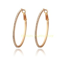 Exquisite Crystal 18k Rose Gold Gp Big Hoop Fashion Earrings KKE2680