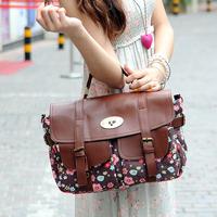 women messenger bags 2014 spring new fashion women canvas +pu leather handbag vintage mini flower pockets bag handbags