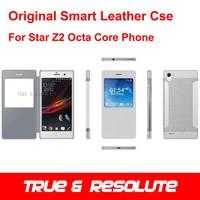 Original Smart Flip PU Leather Case For 5.0 Inch Star Z2 Octa Core MTK6592 2GB+8GB Smartphone White/Black Color In Stock