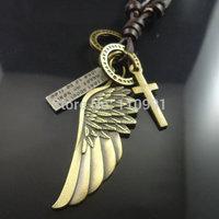 2014 New Unique Handmade Design Fashion Cross Bronze Aitique Vintage Leather Pendent Wing Men Jewelry Necklaces