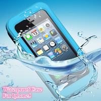 2014 new arrival PC + Silicone waterproof for apple iphone 5 5s waterproof case bag underwater back cover case,free shipping