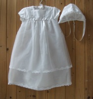 New Hot Sale Pure White Lace Beans Baptism Christening Dress Baby Christening Gown Set Free Shipping