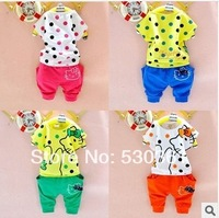 Wholeasle New 2014 100% cotton kids clothing sets, T-shirt+pant, hello kitty children set, girls' clothes, 4 colors available