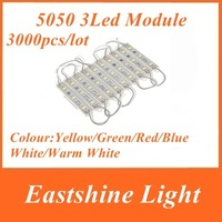 Big Sale for 3000pcs 5050 3 LED Modules White/Cold White Waterproof IP65 DC12V + Discount Ship