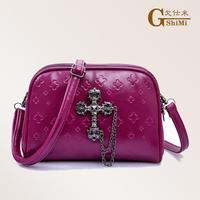 free shipping  women's handbag double layer zipper print mini bag one shoulder cross-body handbag candy day clutch