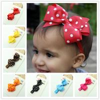 korean children hair accessories polka dot bow elastic bibbon baby headband freeshipping