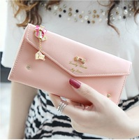 New 2014 fashion envelope flip diamond bow pendant long women female wallets purses clutch carteira feminina,Free Shipping x