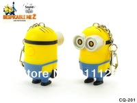 Free shipping 1pc/lot 2014 HOT Despicable me sound&light LED Keychain Creative 4in1 Minions key Ring Toy Trendy Bag hanging drop