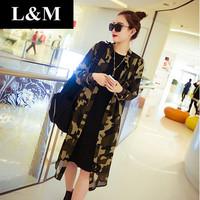 2014 New Big Windbreaker Coat Collar Camouflage Chiffon Long section Cardigan Sun protection clothing Leopard Women pullover