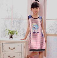 Short in size child sleepwear 100% cotton summer short-sleeve female child nightgown 100% cotton sleeveless spaghetti strap