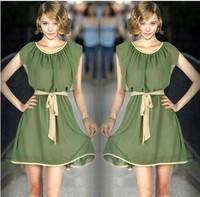2014 summer new lady solid plus sizes ladies fashion high quality chiffon summer dresses xxl  691