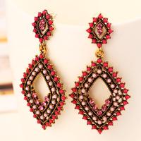 3 Colors Summer  Bohemia Rhombic earrings Vintage Nation Beads Dangle earring for women 2014 Free shipping