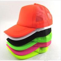 New 2014 Classic Fluorescent/ Plain / Blank Trucker Baseball Summer Mesh Cap Hat Snapback For Men Women 10 Colors