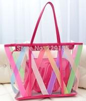 New 2014 Hot sales Fashion Contrast color women handbag rainbow colours shoulder bag Beach bags Cosmetic bag free shipping B027