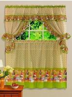 Free shipping printing kitchen curtain, curtain, Coffee idyllic simplicity pattern (5 sets