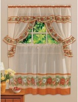 Europe and the United States printing Christmas kitchen curtain, curtain, curtain, 5 piece set Coffee bell