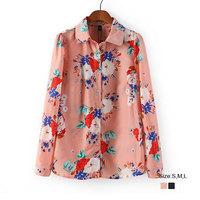 HZA087 Brand New Fashion Women Elegant Floral Big Flower Print Shirts Turn-down Collar Long Sleeve Slim Casual OL Blouses Tops
