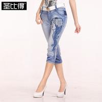 2014 summer women's embroidery flower rhinestones jeans capris horse trousers