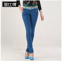 Spring paragraph women's 2014 color block elastic pencil pants casual trousers
