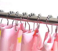 16 pcs Roller Shower Curtain Hooks Rings Bathroom Decor