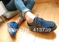 2014In the spring 338 The new Europe and the United States  Restoring ancient ways  The rivet  flat Single shoes Women's shoes