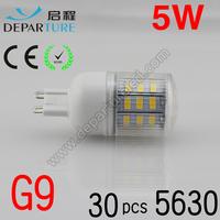 5xPCS  2014 New arrival SMD 5630  5W G9 led corn bulb lamp, AC220-240v ,30 LED Warm white /white led lighting ,free shipping