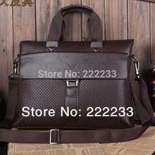 Rushed Retail high quality men brand briefcase genuine leather Portfolio brown shoulder bag messenger genuine+PU 2015 New BG0093(China (Mainland))