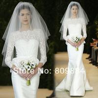 2015 Elegant  Wedding Dresses Sheer Lace Crew Neckline Three Quarter Satin Floor Length Designer Bridal Dress Free Shipping