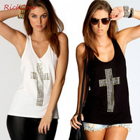 Fashion  summer  2014   new women's hot drilling fashion sexy backless low round collar cultivate one's morality vest