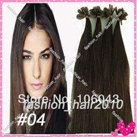 "18''/20"" Remy Nail Tip Human Hair Extensions #4  medium brown 0.7g/strand 100strands/set  70g"