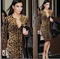 2014 New Fashon Women dress Casual Ruffles Sleeve Summer Dress Pleated Leopard Dress, Plus Size,C0154