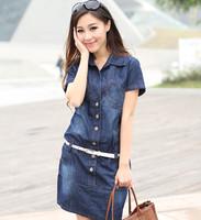 2014 women summber autumn plus size slim denim dark wash blue POLO collar one-piece dress short-sleeve dress S-5XL with belt
