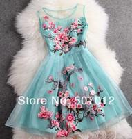 2014 early spring summer designer women's dresses blue beige black 3d flower embroidery fashion vintage brand event dress gown