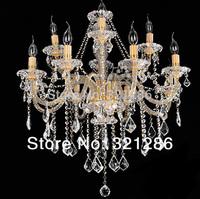 12 Lights Gold candle k9 crystal chandelier European Candle Crystal Chandeliers Ceiling Bedroom Living Room Modern E14