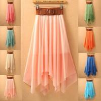 2014 New Women Beach Summer Long Skirt Irregular Female Chiffon Peated Skirt  Candy Colour