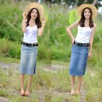 women blue vintage rivet Denim female bust medium short spring and summer slim hips plus size step skirt hot-selling with belt