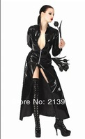 2014 Hot sell sexy latex costume high quality black women sexy costume zipper front plus size fuax leather halloween costume XL
