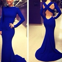 Sexy Vestidos De Fiesta Scoop Neck Long Sleeve Open Back Royal Blue Mermaid Evening Dress 2014 DYQ1105