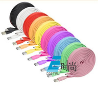 10PCS/Lot 1m Noodle Micro USB Cable Data Sync Charger Cable for Samsung i9300 Galaxy S4 S3 HTC nokia wholesale