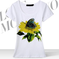 Hot New 2014 fashion Beading Sunflower butterfly Women's Cotton T-shirt Tshirt summer T shirt GT12