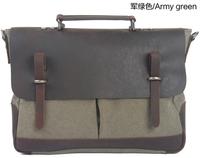 2014 New Fashion Men Vintage Canvas Leather Shoulder Messenger Satchel Strong Bag Genuine Cow Leather Computer Bags