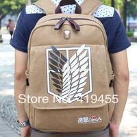 New Arrival 2014 Anime Attack On Titan bag for laptop 14 Women men's vintage canvas backpack rucksack  BP0179