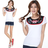 Summer women's 2013 100% cotton o-neck national embroidery trend patchwork t-shirt
