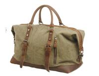 Fashion Men Retro handmade canvas genuine cow leather duffel tote bag travel luggage/ satchel handbag shoulder bags