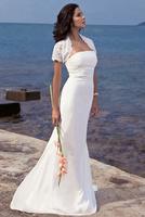 2014 New Europe Fashion Bride Strapless Chiffon Sexy Mermaid Wedding Dress Slim Fit Train Wedding Dresses with lace cape A711