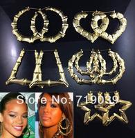 Mix Punk metal gold bamboo earrings hearts rectangular trapezoidal pentagram double circle stud earrings wholesale free shipping